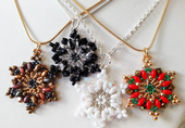 Beadwork Red Gold Green Snowflake Necklace / Christmas Decoration Kit